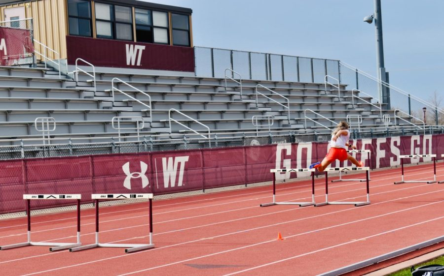 Photo+of+the+seating+area+and+anchor+lane+with+hurdles+of+the+track+stadium