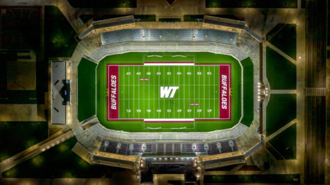 A drone-view of the WT football field.