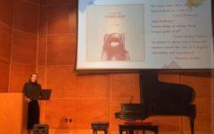 A screenshot of Gaven Ludington presenting during his senior lecture recital.