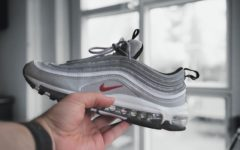 Photo of the Nike Air Max 97 sneakers, which the Satan shoes are modeled after.