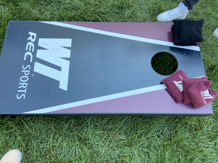 Corn Hole board with WT REC Sports label