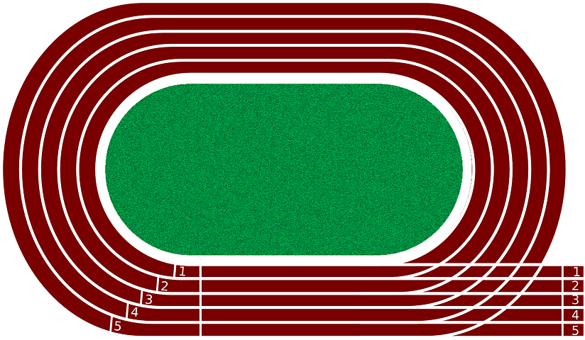 A tartan track with an astro-turf field in the middle