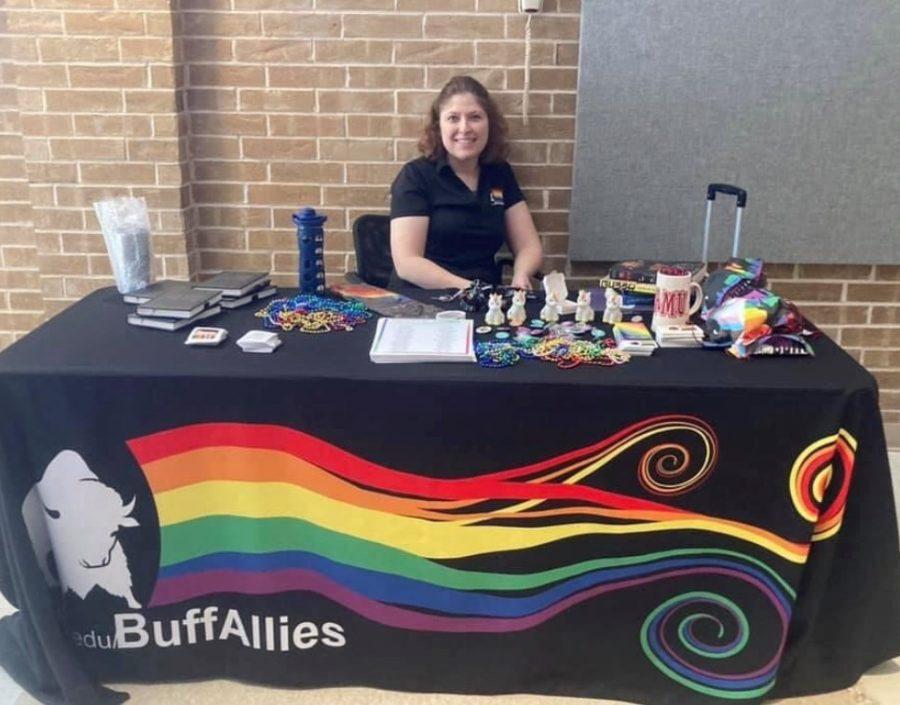 Dr. Kristina Drumheller at a Buff Allies stand