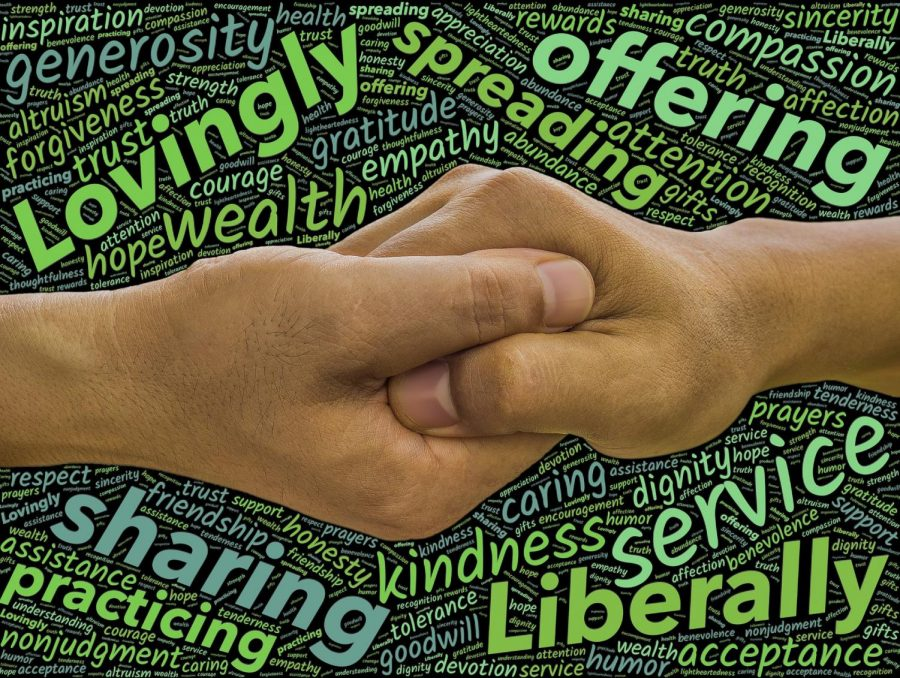 Holding of hands with words of service around it
